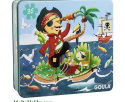Puzzle con diseño Pirata, caja de metal, 35 piezas